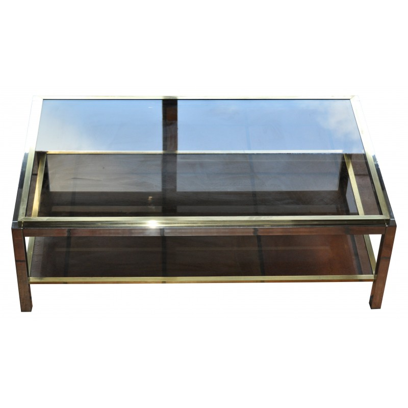 Table basse vintage plateau verre