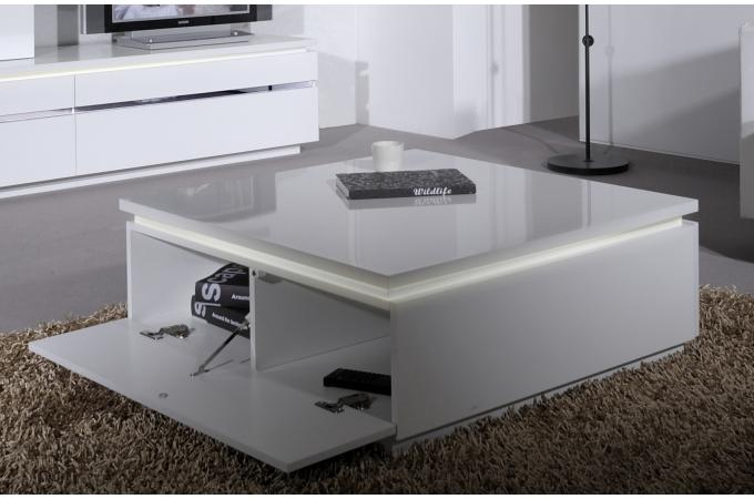 Table basse noir et blanche avec rangement