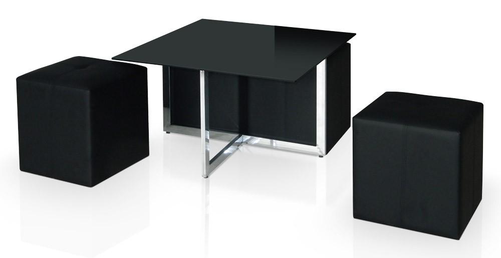 Table basse avec 4 poufs noir