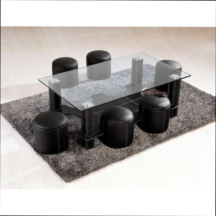 Table basse avec 6 pouf pas cher