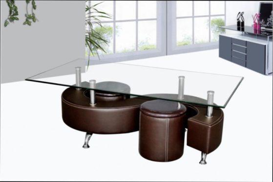 Table basse avec pouf couleur chocolat