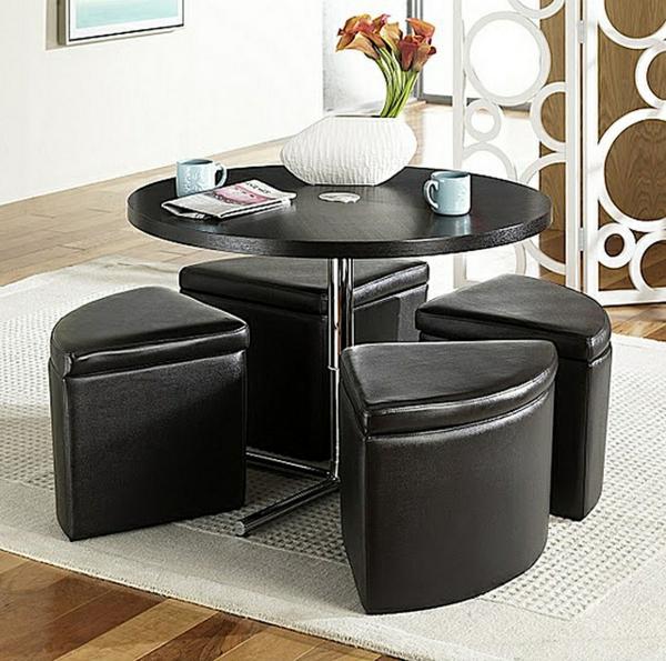 Table basse avec pouf ronde