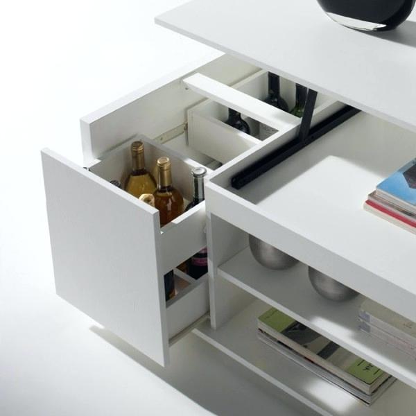 Table basse taupe avec rangement pour bar intégré