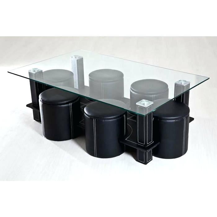 Table basse avec poufs integres pas cher