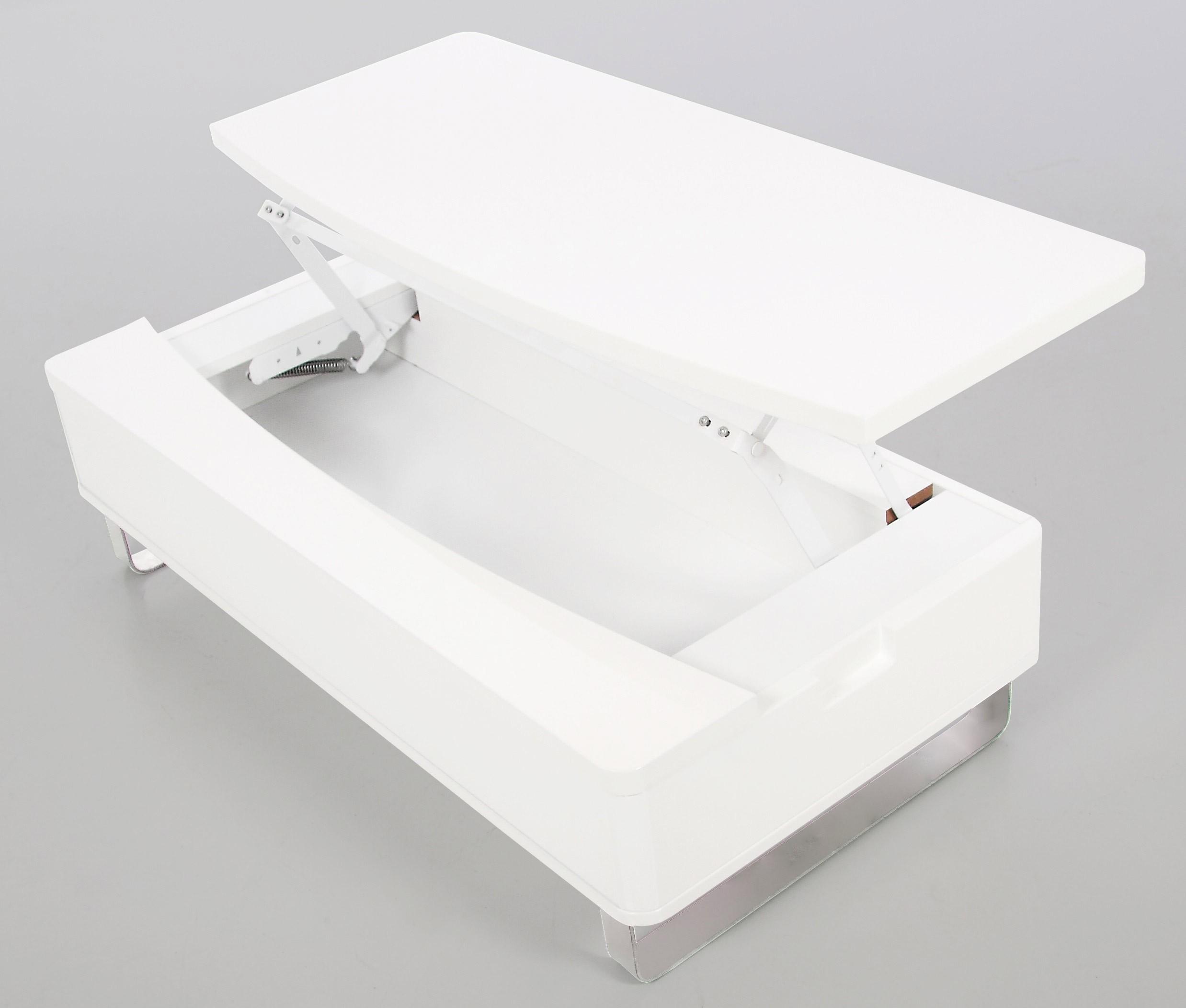 Table basse laquée blanc avec rangement