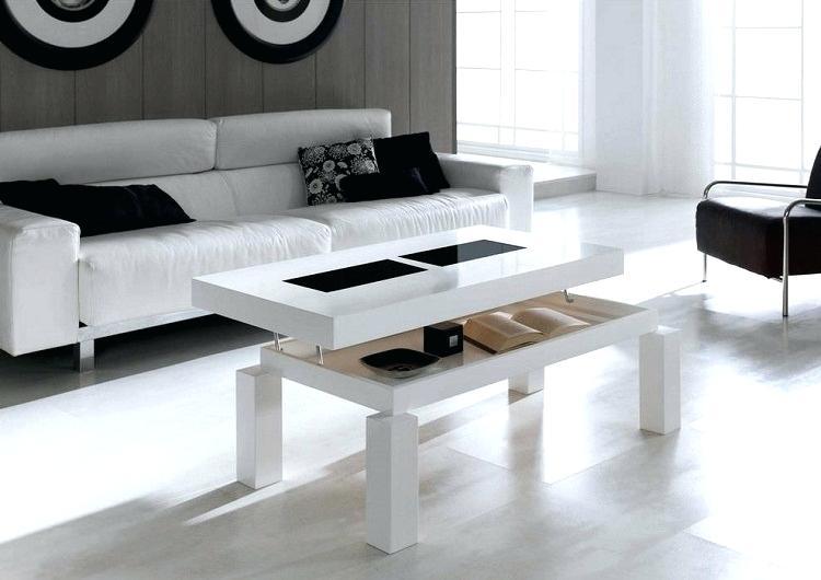 Table basse aramis avec rangements - mdf laqué blanc
