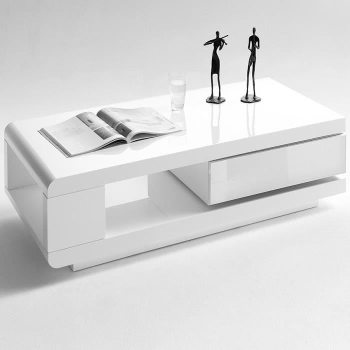 Table basse minela rectangulaire laquée avec rangements - gris et blanc