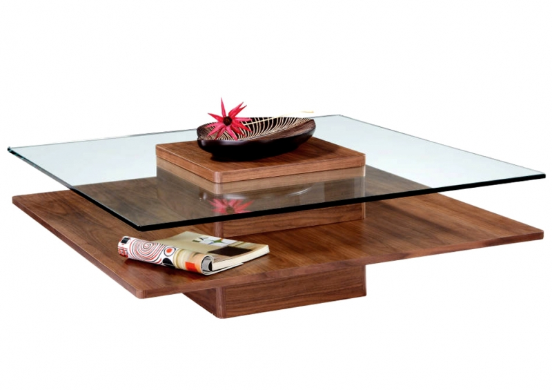 Table basse verre indy bois noyer