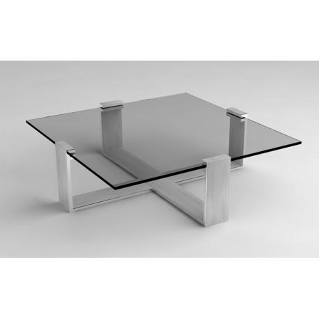 Table basse carrée en verre design