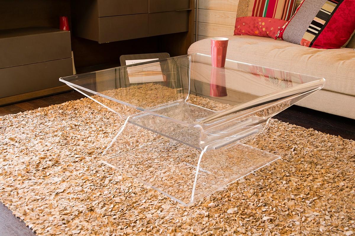 Table basse acrylique transparente pas cher