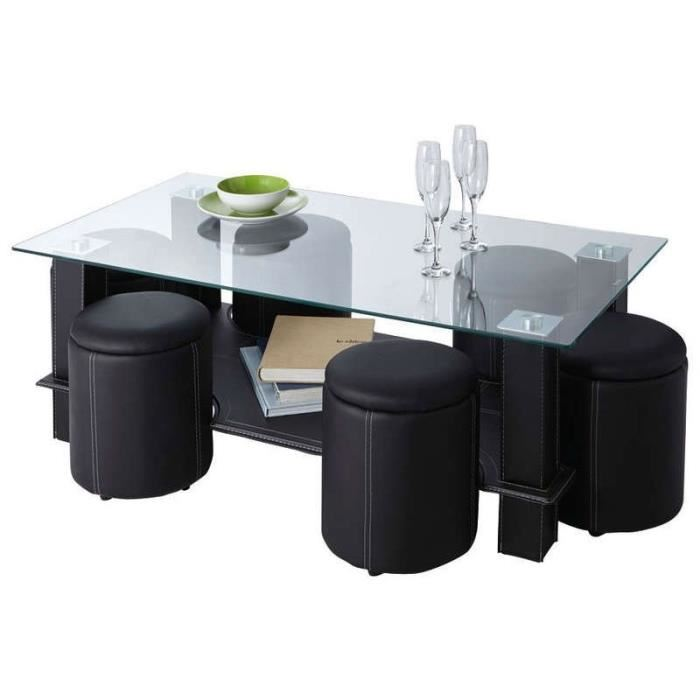 Table basse avec 6 poufs encastrables
