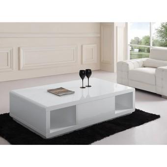 Table basse design réglable blanche avec rangement