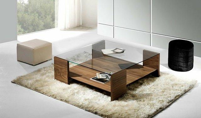 Table basse carrée en verre et bois