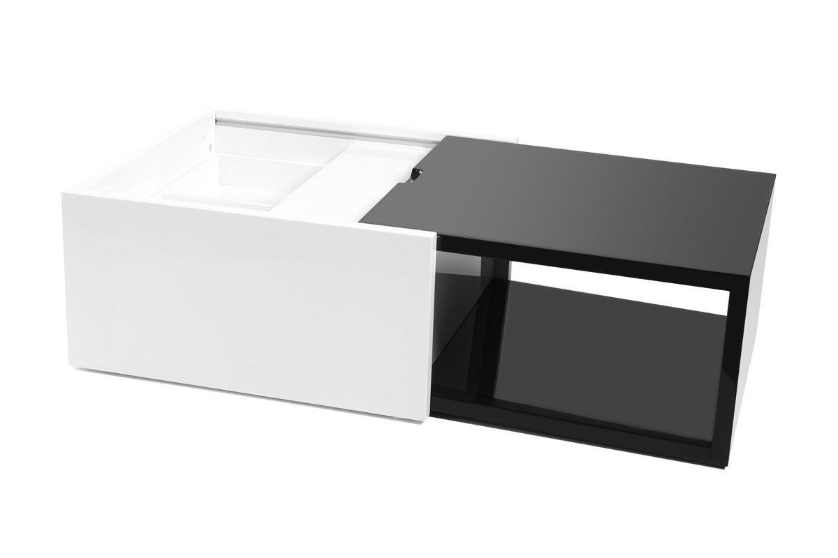 Table basse avec rangement holly noir et blanc