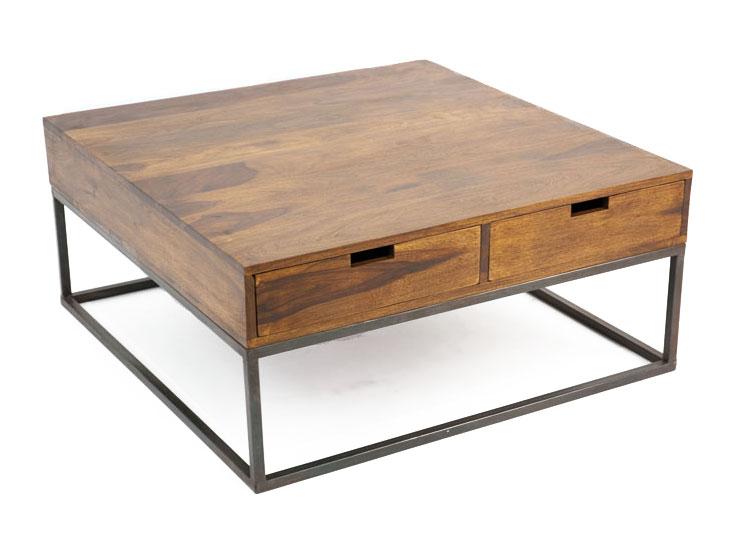 Table basse carrée fer et bois