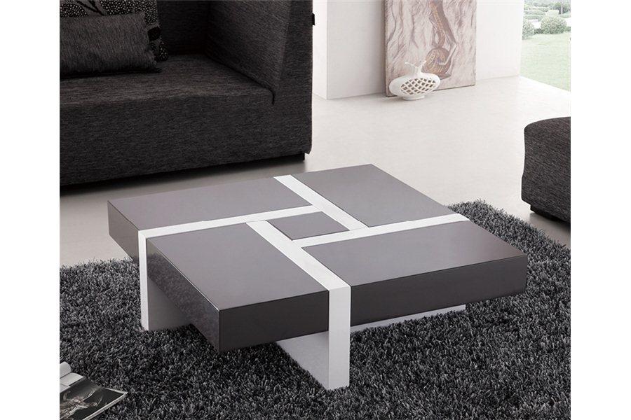 Table basse minela rectangulaire laquée avec rangements - noir et blanc