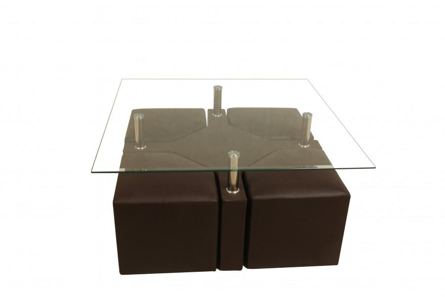 Table basse avec pouf en solde