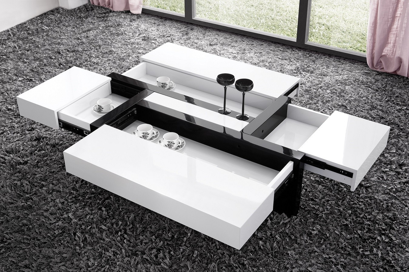 Table basse rectangulaire avec rangement