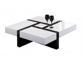 Alice table basse avec rangement 110 cm noir brillant