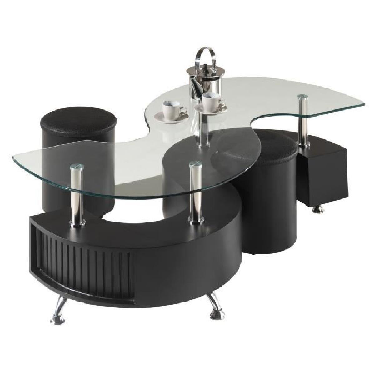 Table basse avec pouf en verre