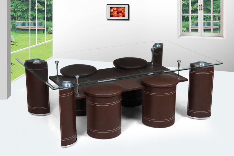 Table basse avec pouf chocolat