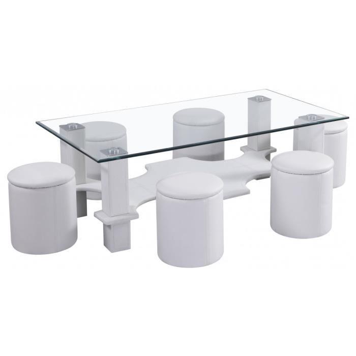 Table basse blanche en verre avec pouf