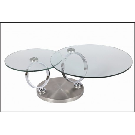 Table basse ronde verre modulable