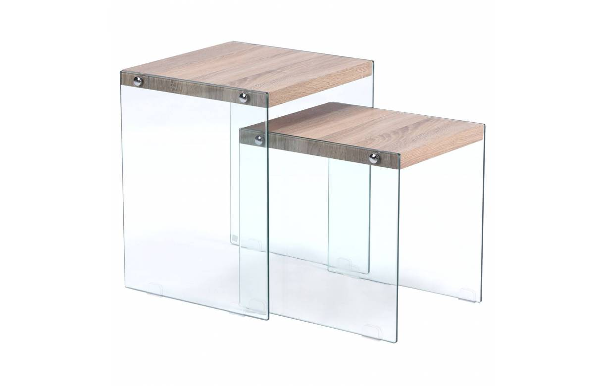 Table basse table gigogne en verre