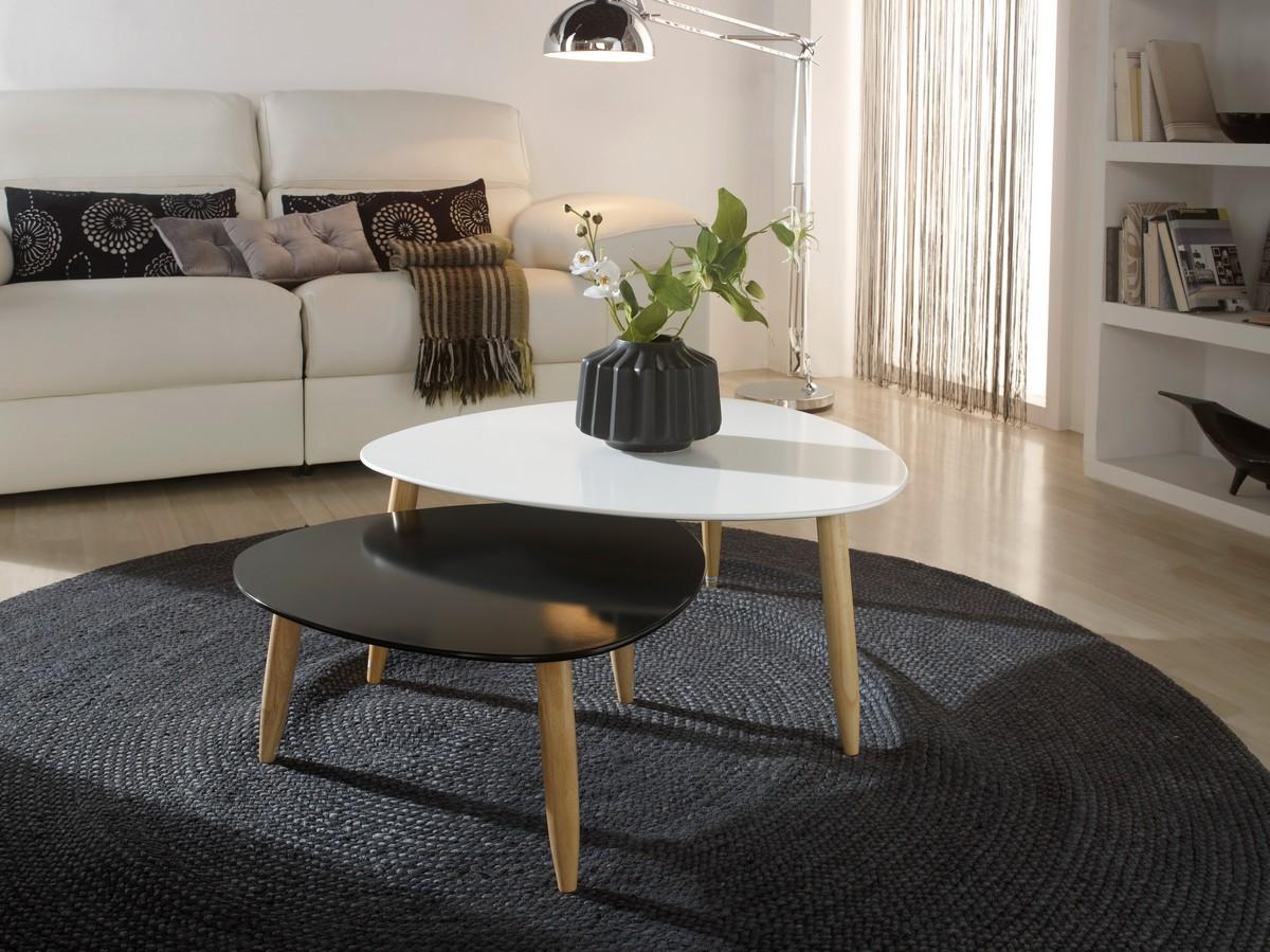 Table basse gigogne blanc et bois
