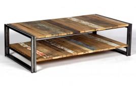 Table basse industrielle bois metal verre