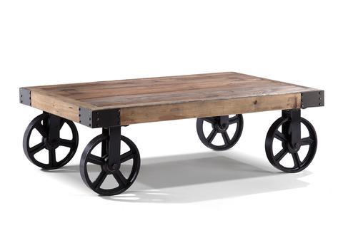 Table basse industrielle vieux bois