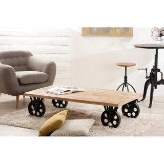 Table basse verre grosses roues