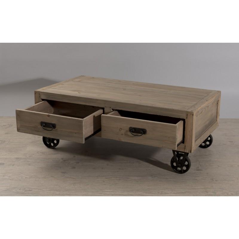 Table basse industrielle à roulette