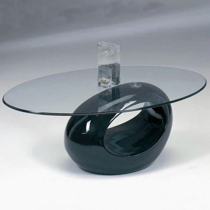 Table basse en verre pied noir laqué