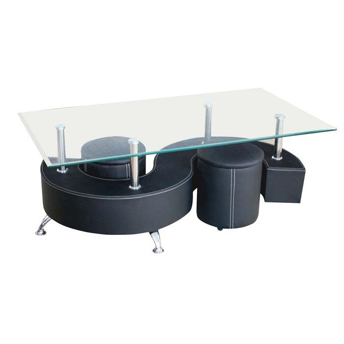 Table basse en verre avec 2 pouf
