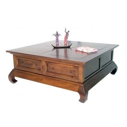 Table basse carrée hévéa