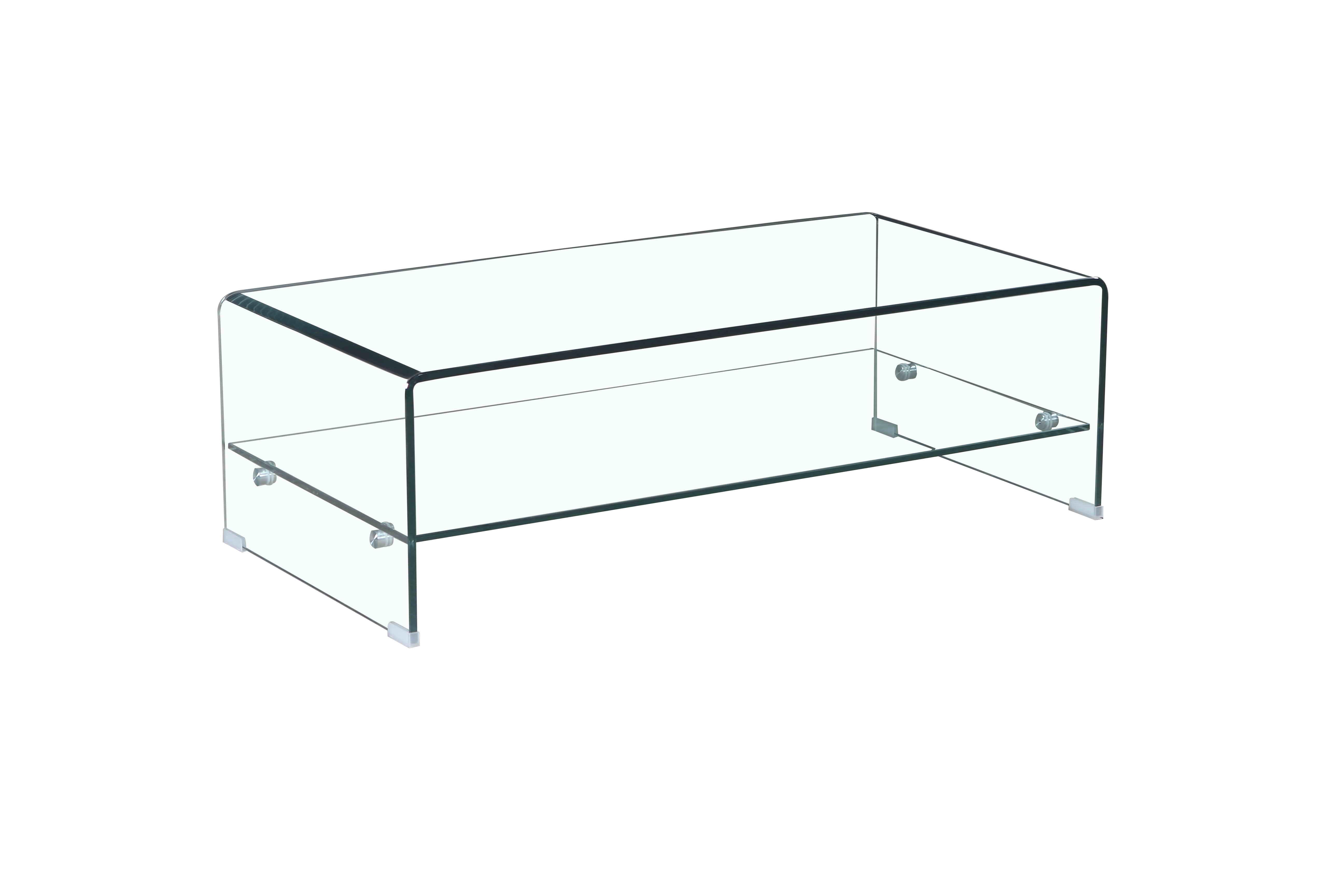 Table basse en verre rectangulaire
