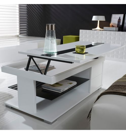 Table basse en verre noir et blanche