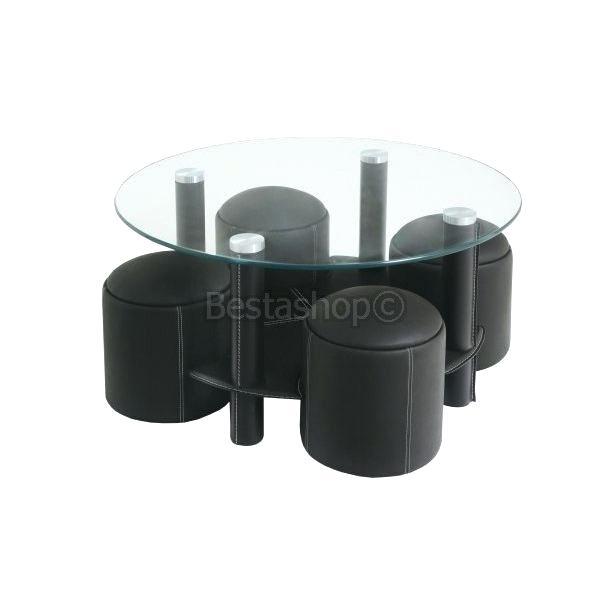 Table basse avec 6 poufs noir