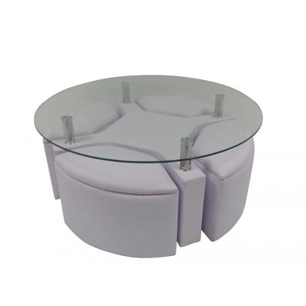 Table basse ronde en verre avec pouf