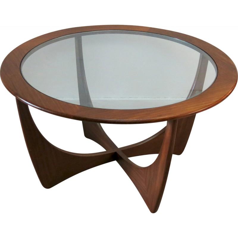 Table basse ronde en verre vintage