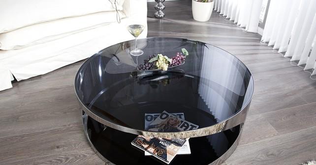magasin en ligne 18eac 5dbb4 Table basse ronde en verre noir - Maison et meuble de maison