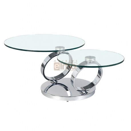 Table basse ronde double
