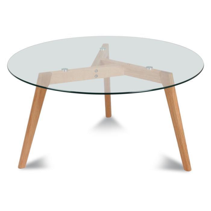 Table basse ronde en bois pas cher
