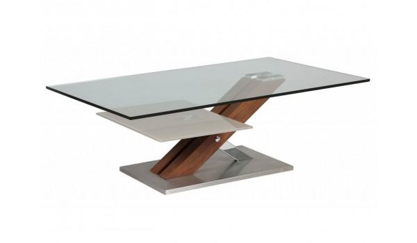Table basse en verre bois