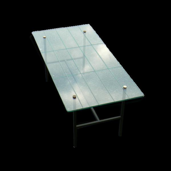 Table basse retro verre