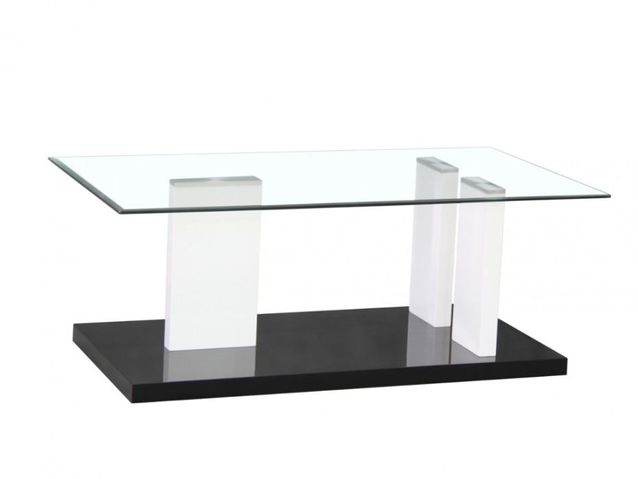 Table basse en verre noir et blanc