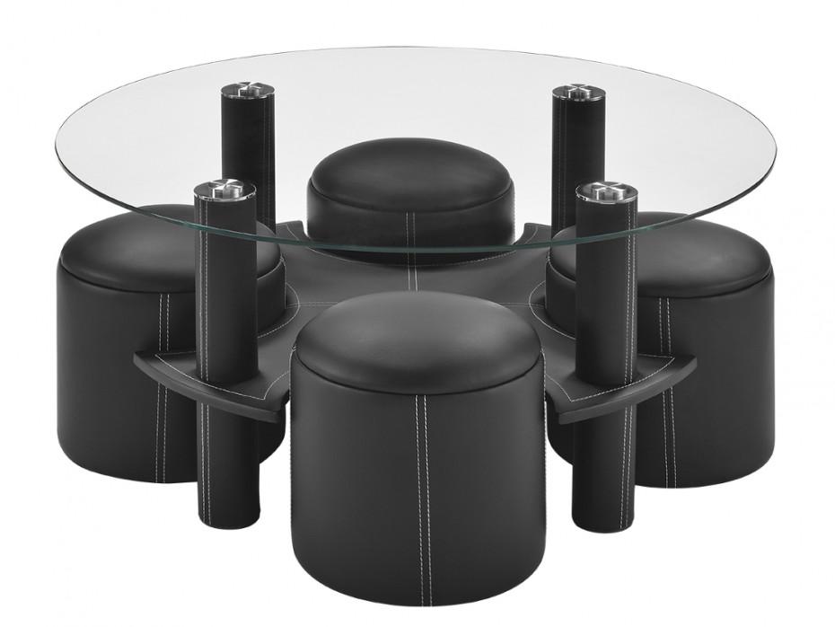 Vente unique table basse avec pouf