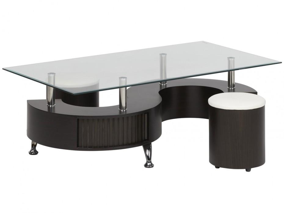 Table basse avec deux pouf