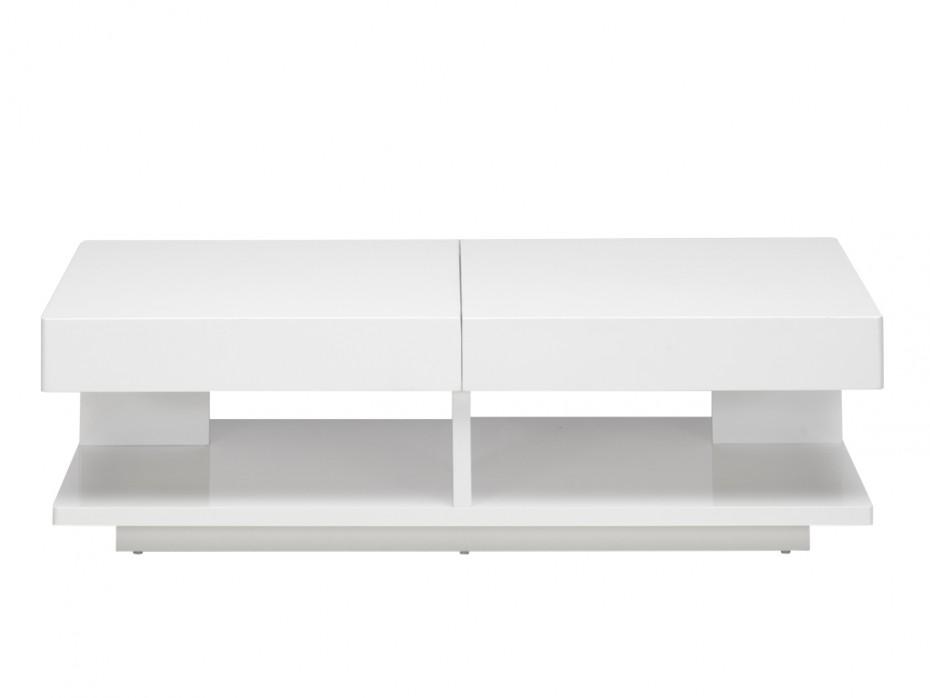 Table basse avec rangement coloris blanc laqué et bois